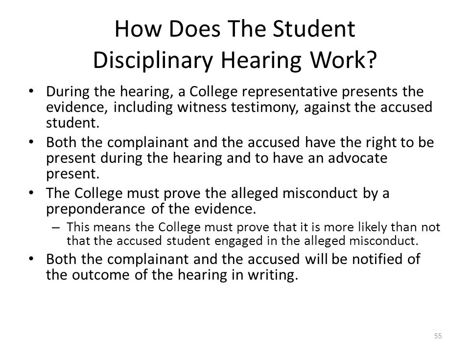 How Does The Student Disciplinary Hearing Work
