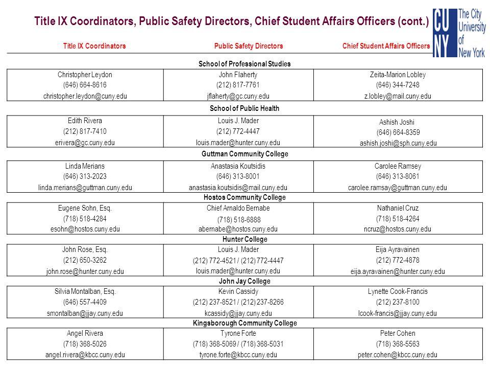 Title IX Coordinators, Public Safety Directors, Chief Student Affairs Officers (cont.)