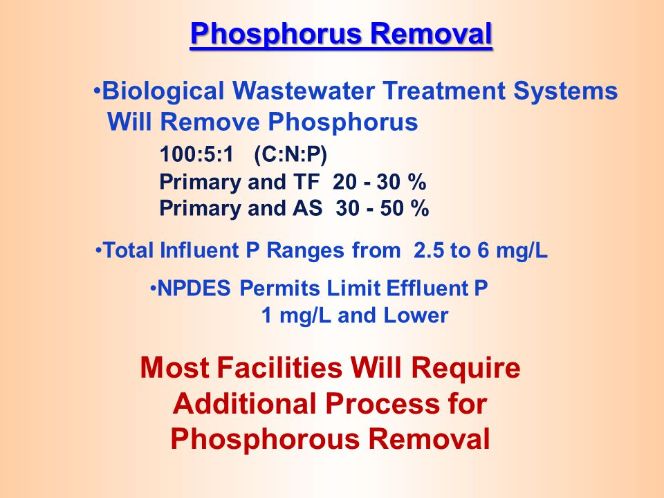 Phosphorus Removal Biological Wastewater Treatment Systems. Will Remove Phosphorus. 100:5:1 (C:N:P)