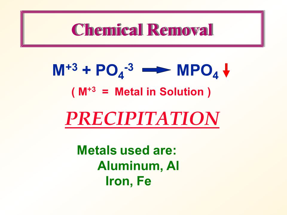PRECIPITATION Chemical Removal M+3 + PO4-3 MPO4 Metals used are: