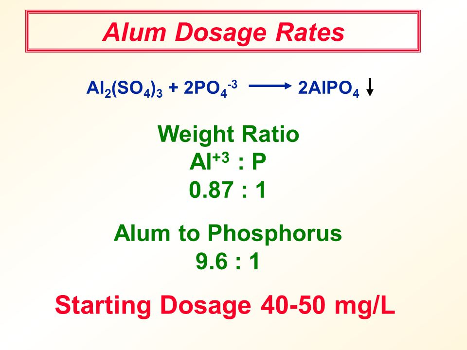 Alum Dosage Rates Starting Dosage 40-50 mg/L Weight Ratio Al+3 : P
