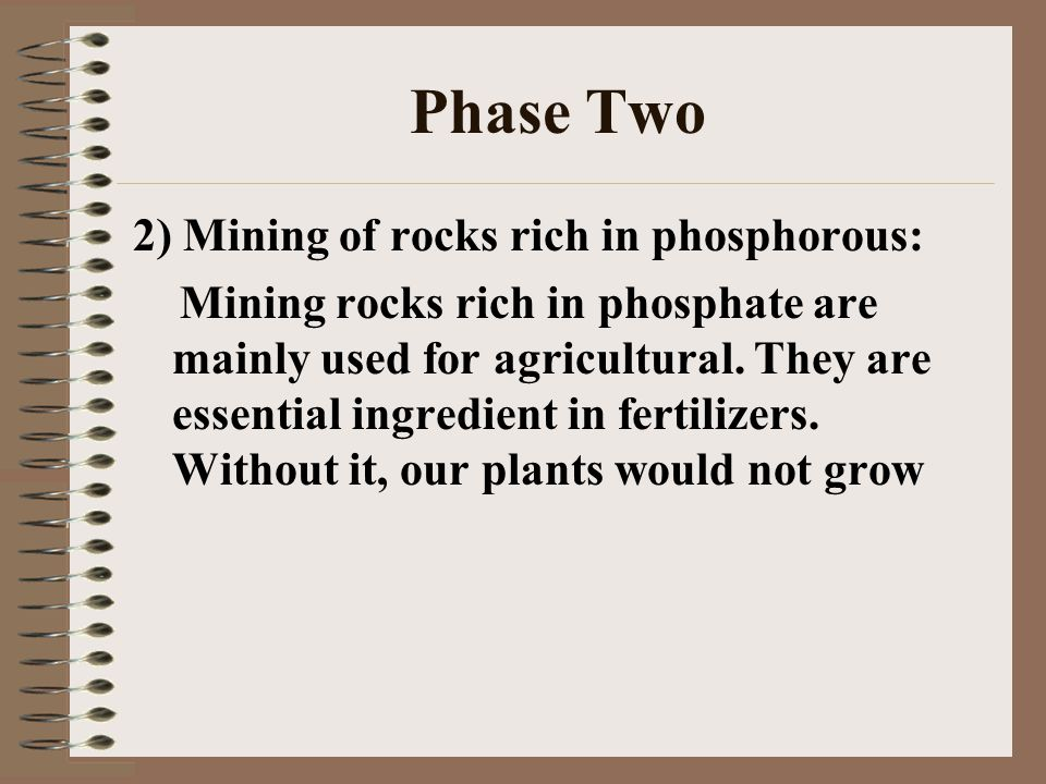 Phase Two 2) Mining of rocks rich in phosphorous: