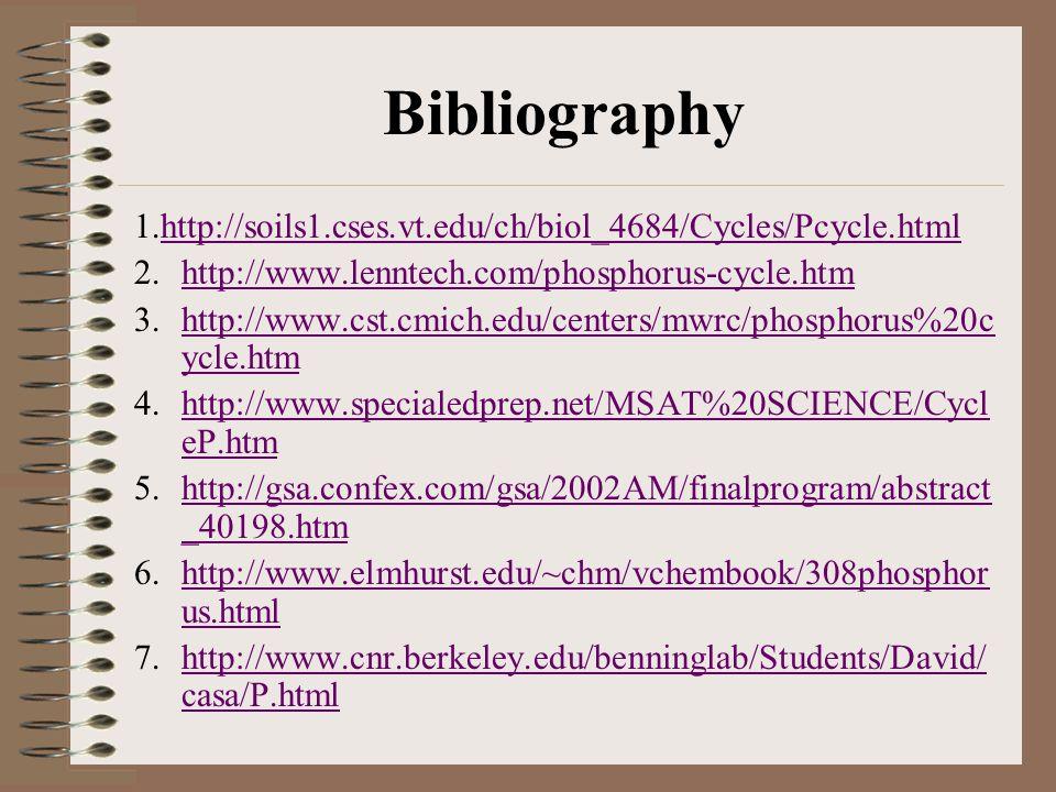 Bibliography 1.http://soils1.cses.vt.edu/ch/biol_4684/Cycles/Pcycle.html. http://www.lenntech.com/phosphorus-cycle.htm.