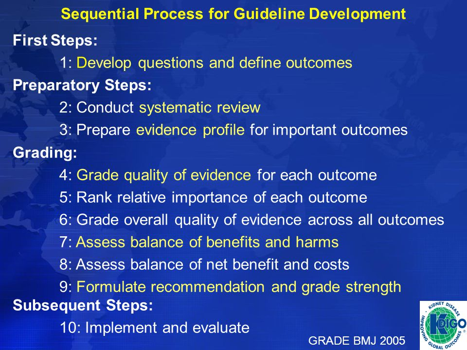 Sequential Process for Guideline Development