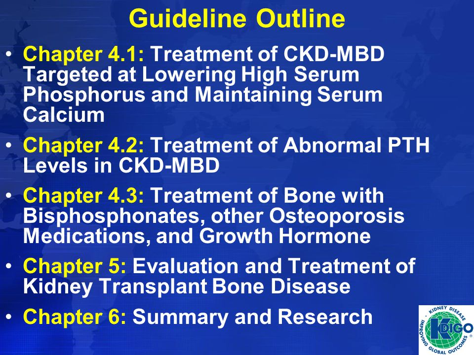 Guideline Outline Chapter 4.1: Treatment of CKD-MBD Targeted at Lowering High Serum Phosphorus and Maintaining Serum Calcium.