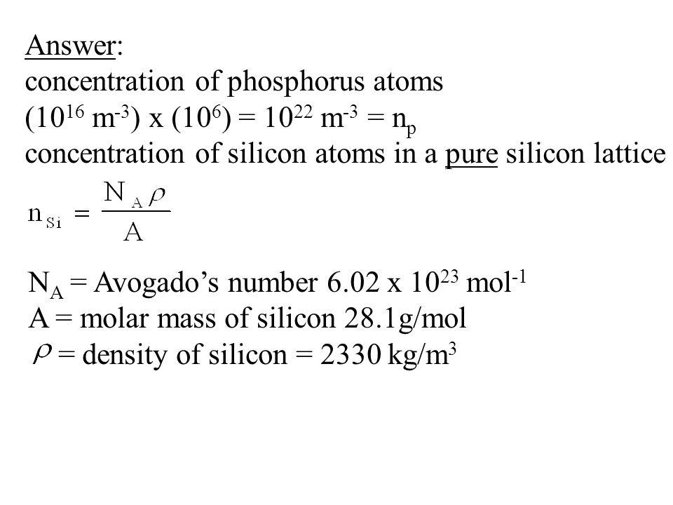 Answer: concentration of phosphorus atoms. (1016 m-3) x (106) = 1022 m-3 = np. concentration of silicon atoms in a pure silicon lattice.