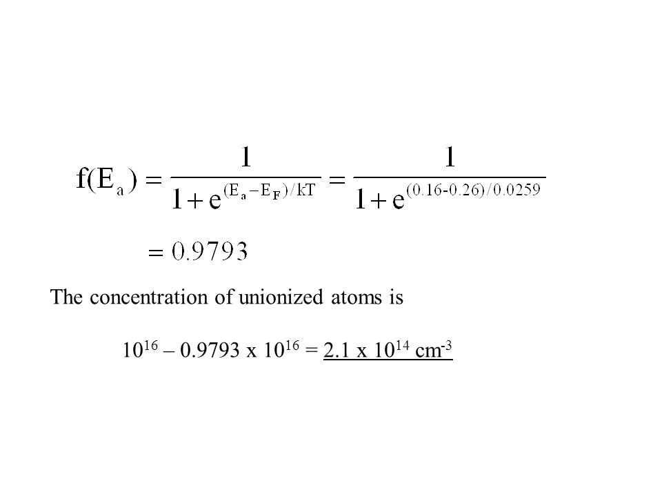 The concentration of unionized atoms is