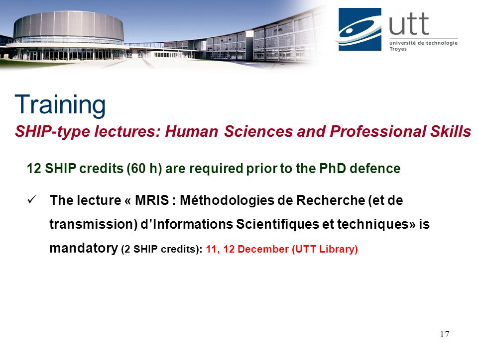 Training SHIP-type lectures: Human Sciences and Professional Skills