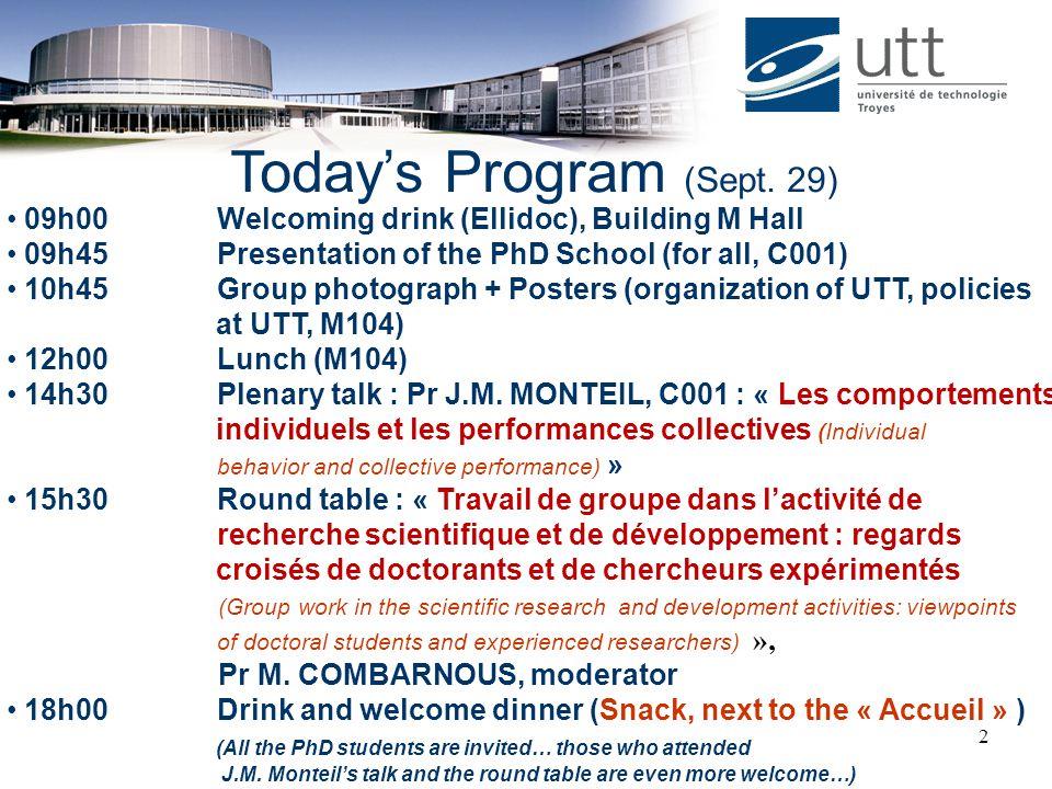 Today's Program (Sept. 29)