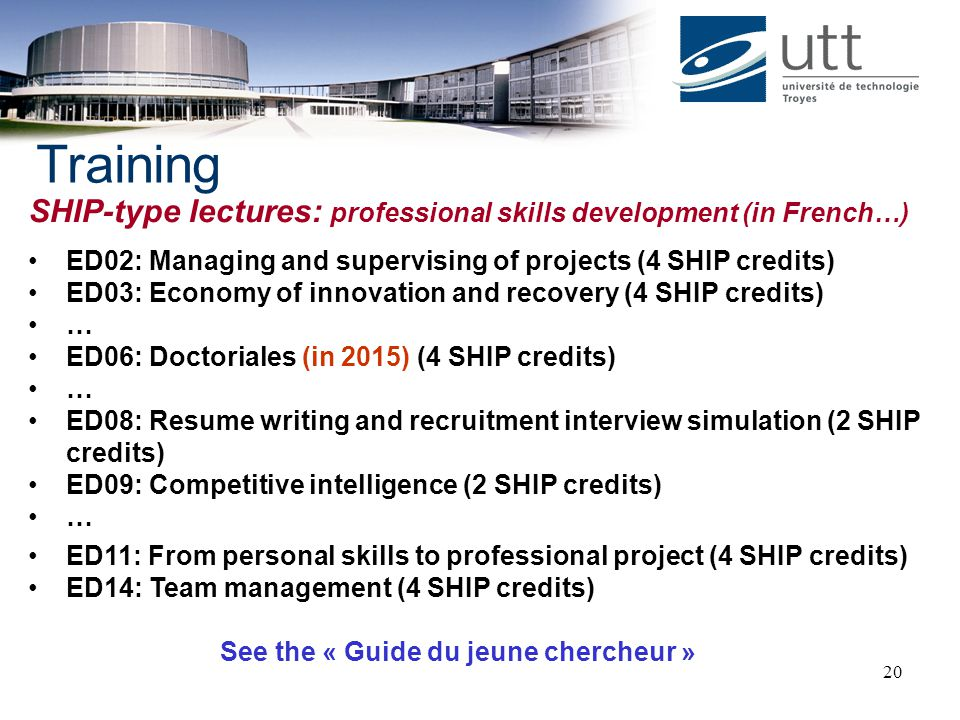 Training SHIP-type lectures: professional skills development (in French…) ED02: Managing and supervising of projects (4 SHIP credits)
