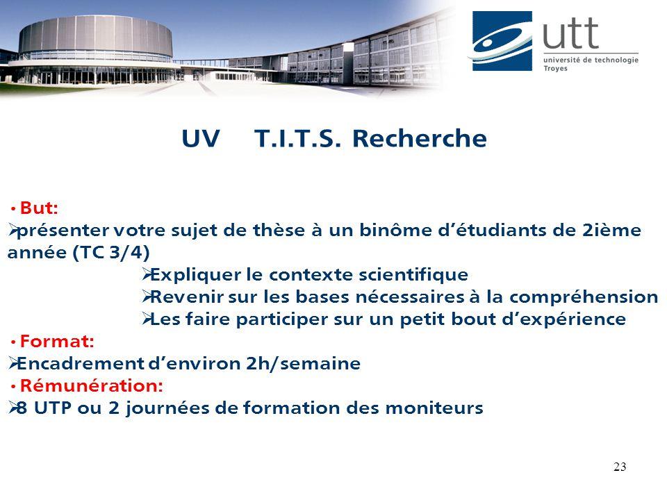 UV T.I.T.S. Recherche But: présenter votre sujet de thèse à un binôme d'étudiants de 2ième année (TC 3/4)