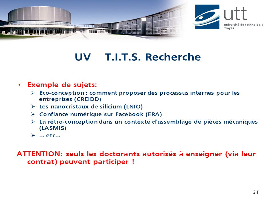 UV T.I.T.S. Recherche Exemple de sujets: