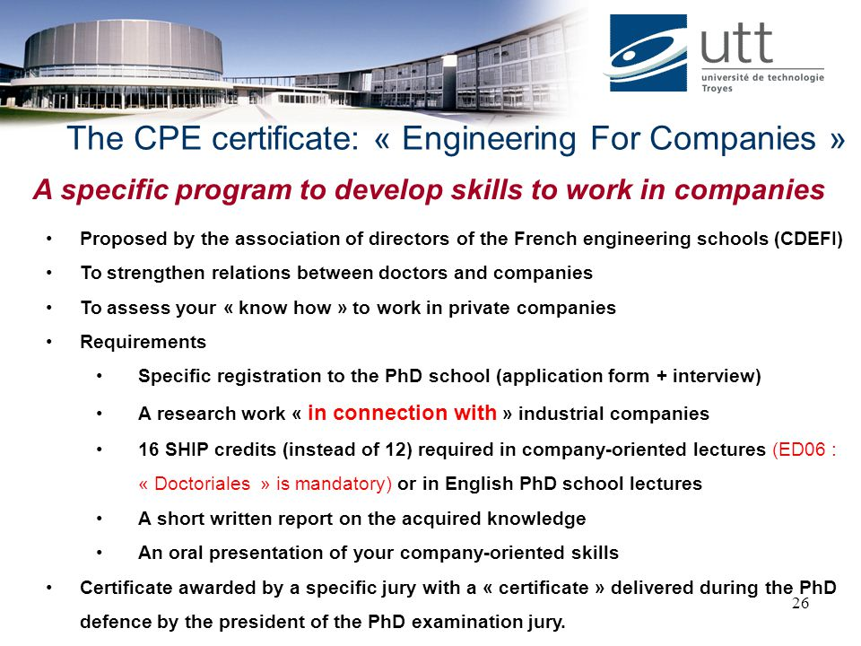 The CPE certificate: « Engineering For Companies »