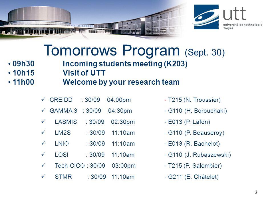 Tomorrows Program (Sept. 30)