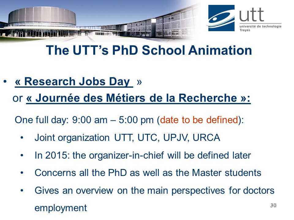 The UTT's PhD School Animation