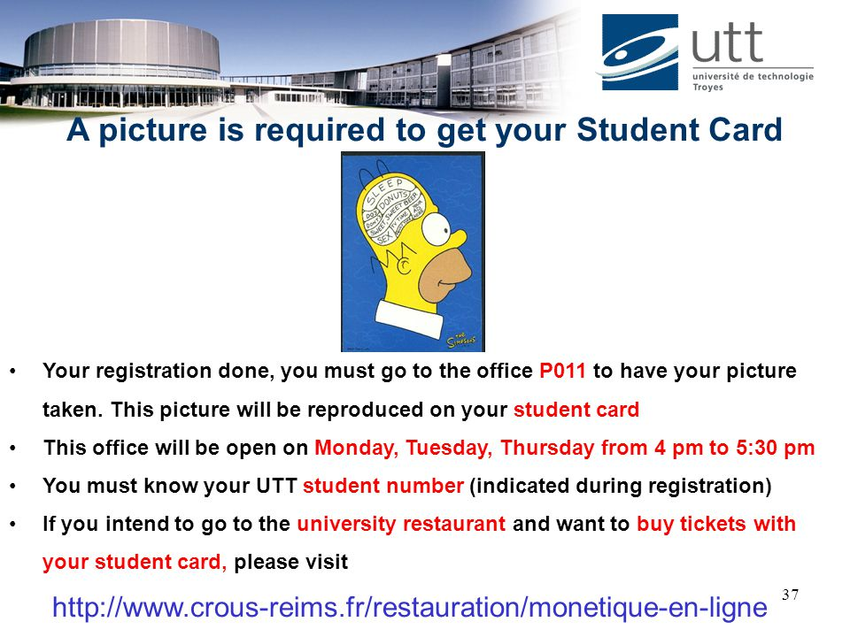 A picture is required to get your Student Card