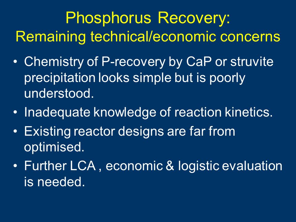 Phosphorus Recovery: Remaining technical/economic concerns