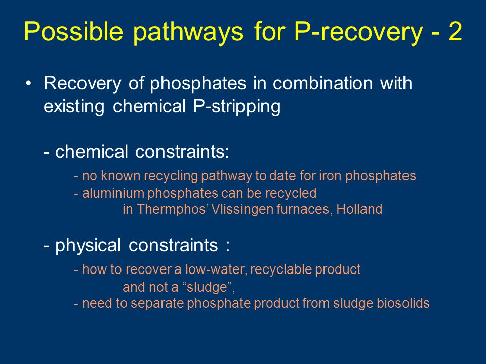 Possible pathways for P-recovery - 2
