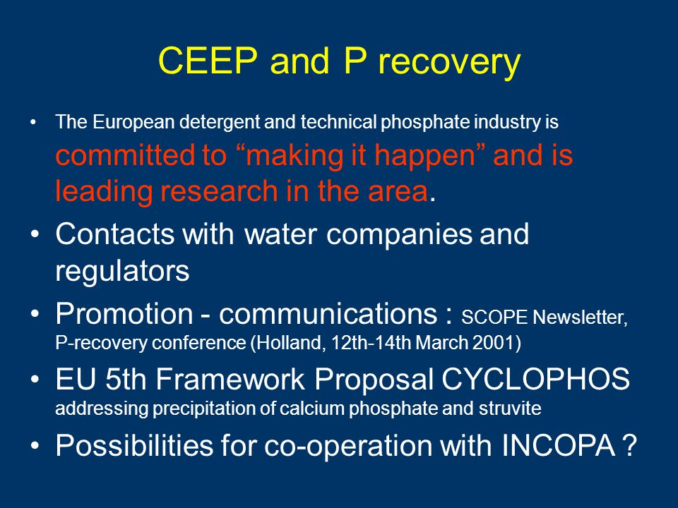 CEEP and P recovery Contacts with water companies and regulators