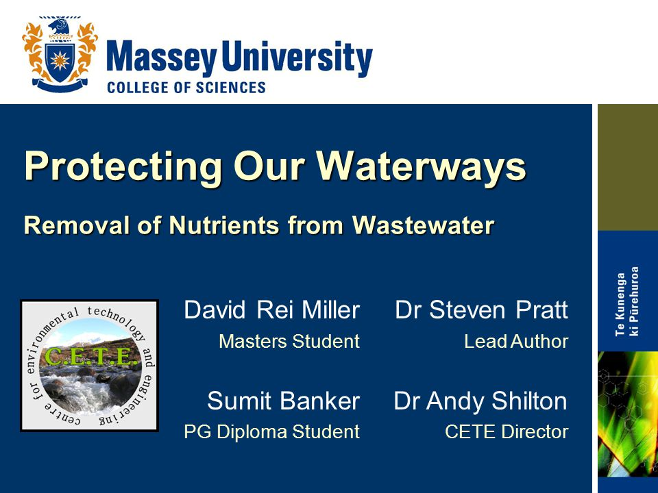 Protecting Our Waterways Removal of Nutrients from Wastewater