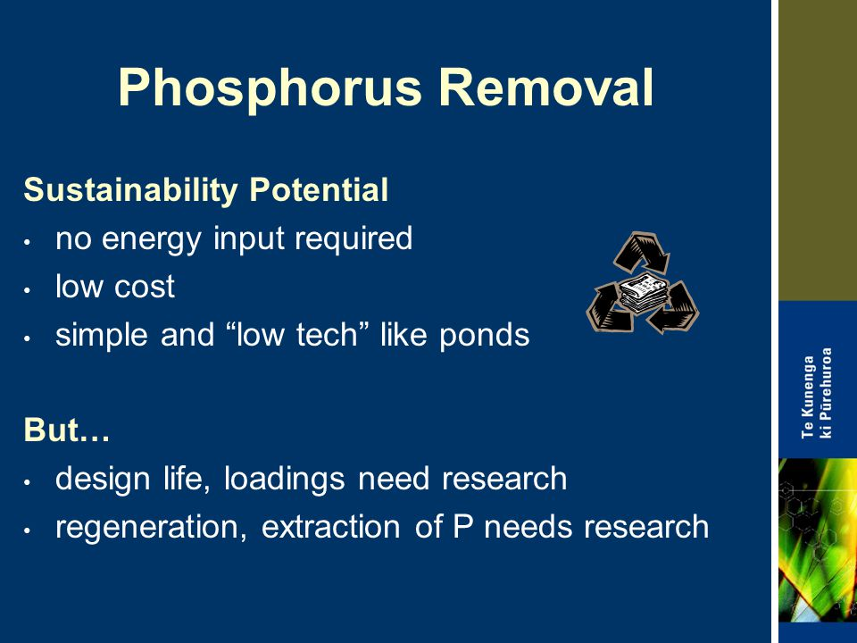 Phosphorus Removal Sustainability Potential no energy input required