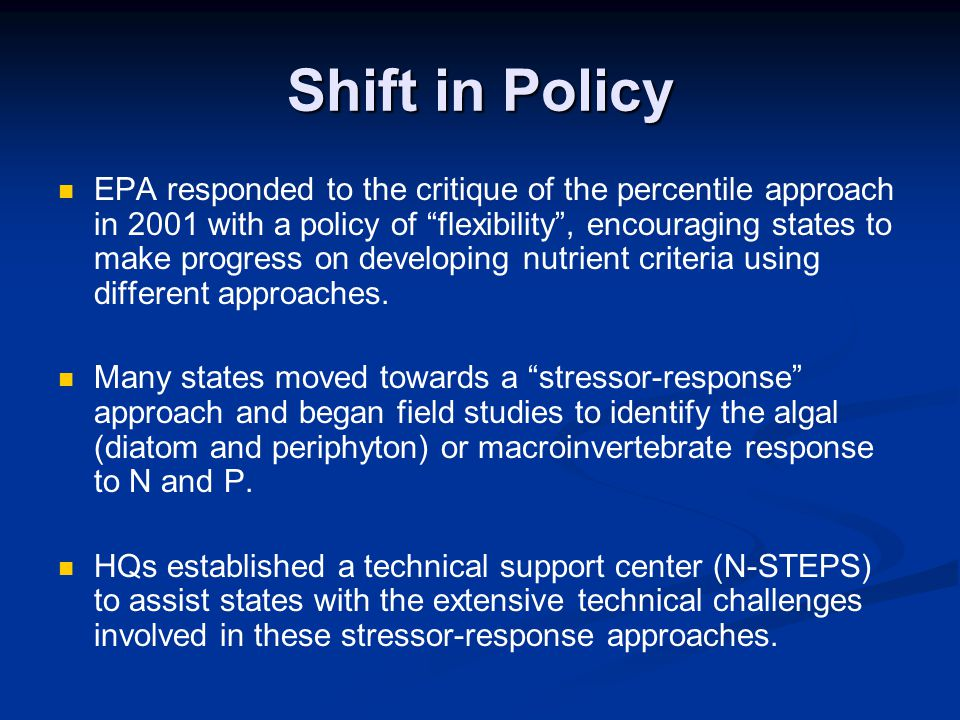Shift in Policy
