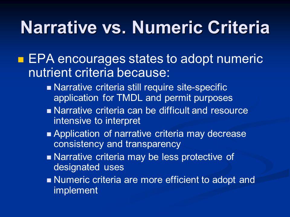 Narrative vs. Numeric Criteria