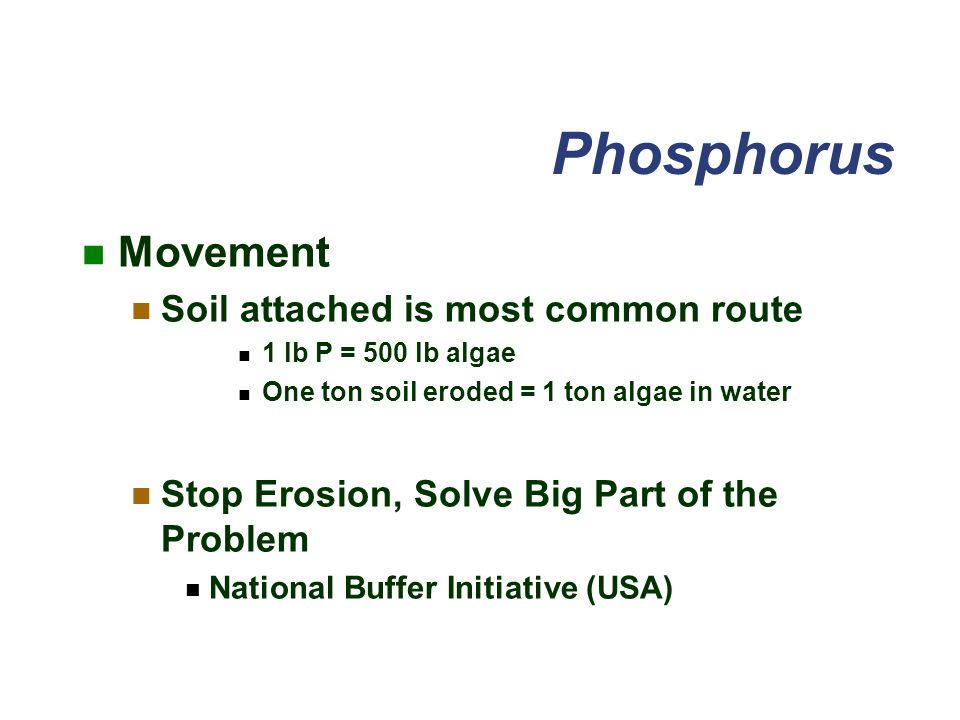 Phosphorus Movement Soil attached is most common route