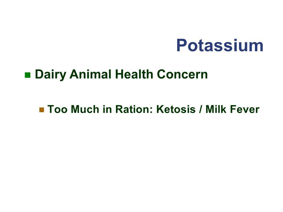 Potassium Dairy Animal Health Concern