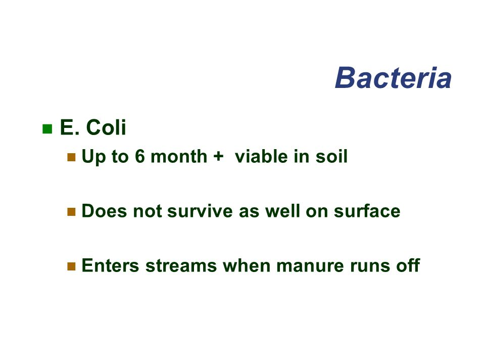 Bacteria E. Coli Up to 6 month + viable in soil