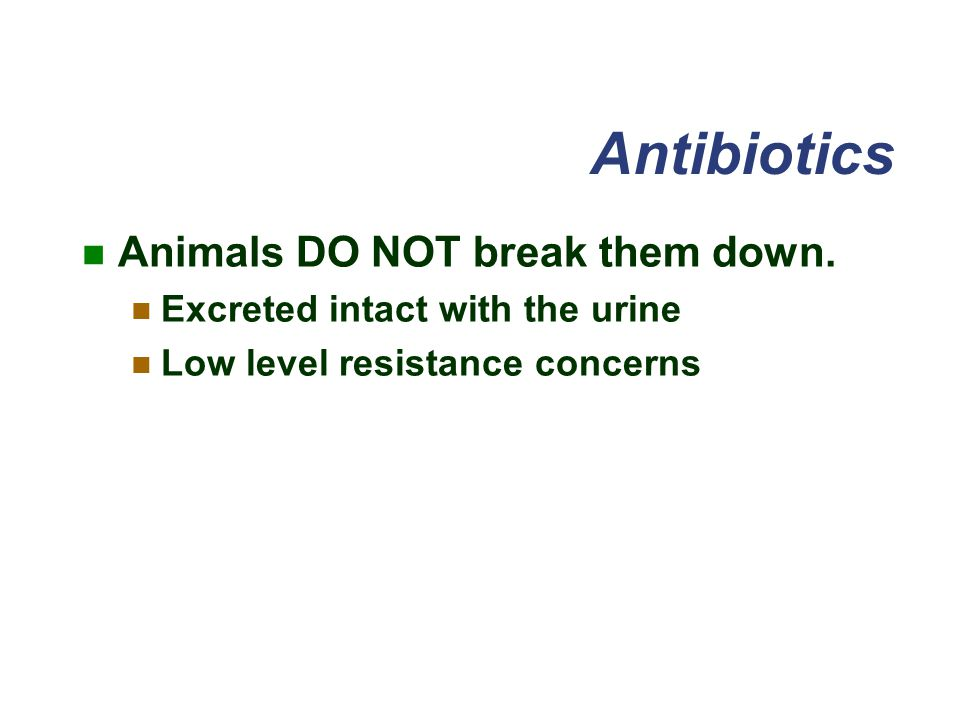Antibiotics Animals DO NOT break them down.