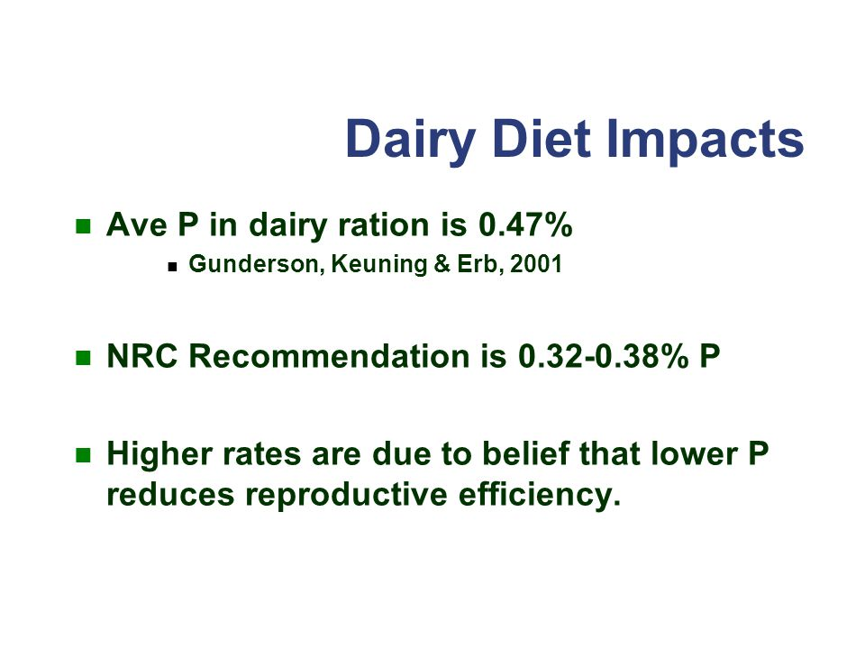 Dairy Diet Impacts Ave P in dairy ration is 0.47%