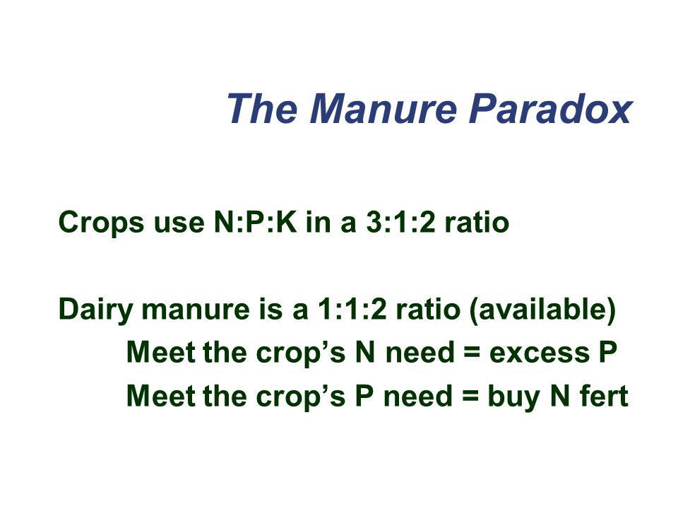 The Manure Paradox Crops use N:P:K in a 3:1:2 ratio