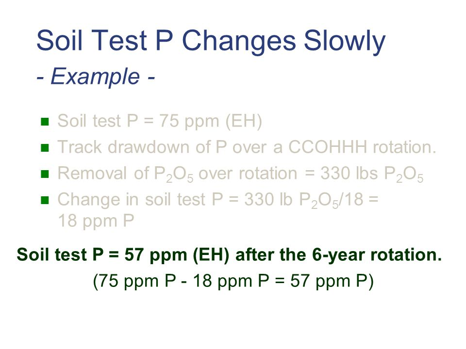 Soil Test P Changes Slowly - Example -