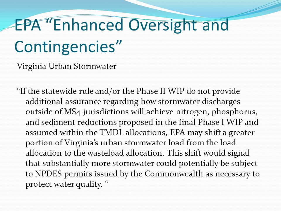 EPA Enhanced Oversight and Contingencies