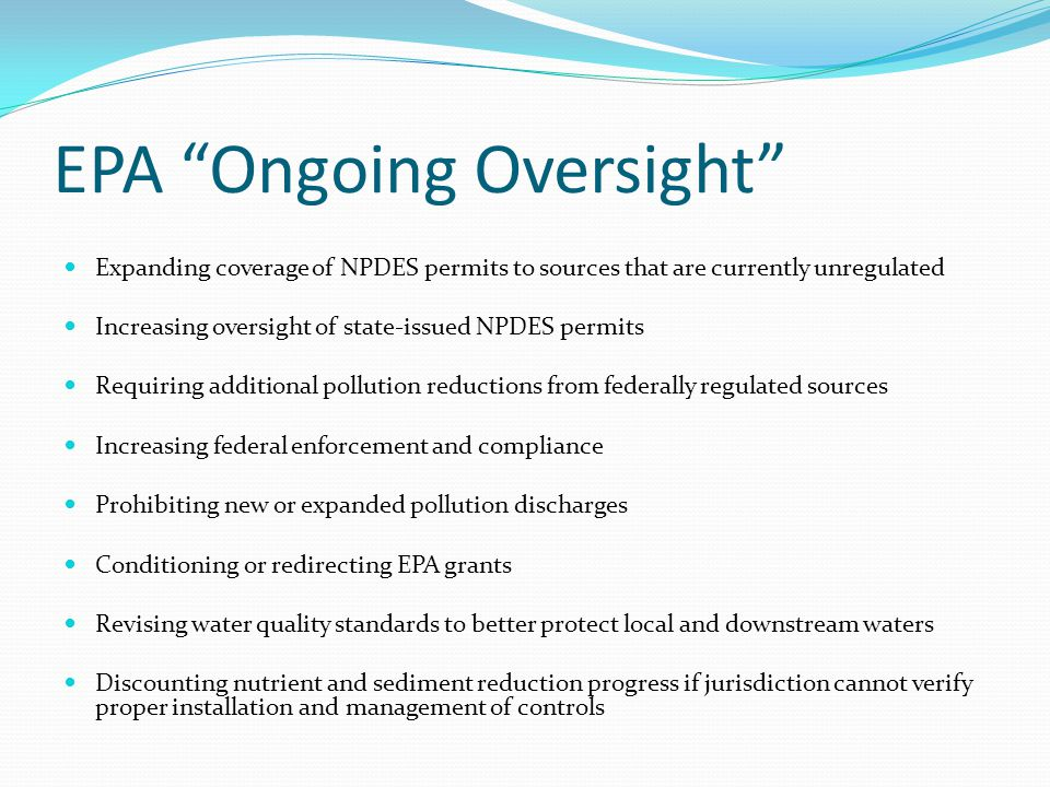 EPA Ongoing Oversight