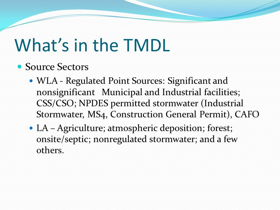 What's in the TMDL Source Sectors