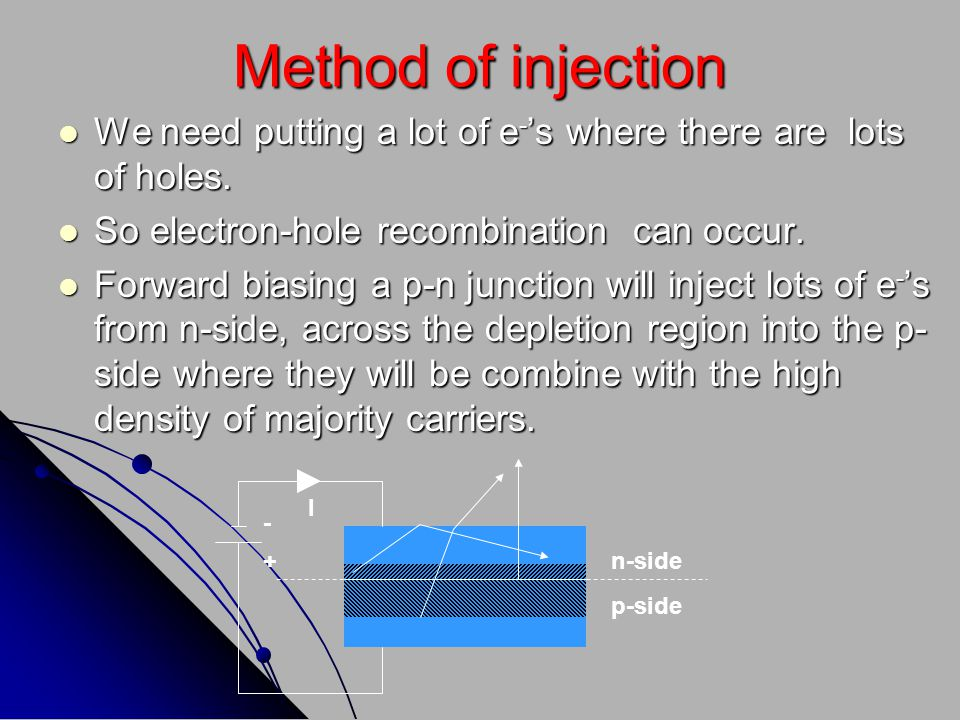 Method of injection We need putting a lot of e-'s where there are lots of holes. So electron-hole recombination can occur.