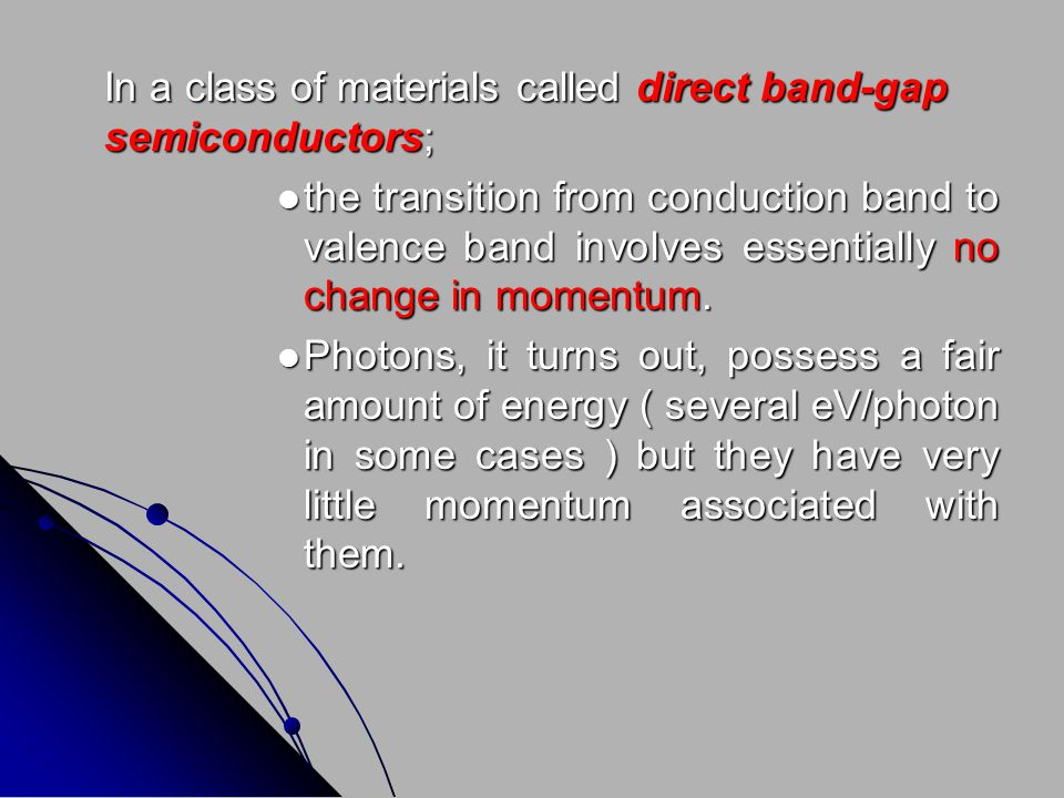 In a class of materials called direct band-gap semiconductors;