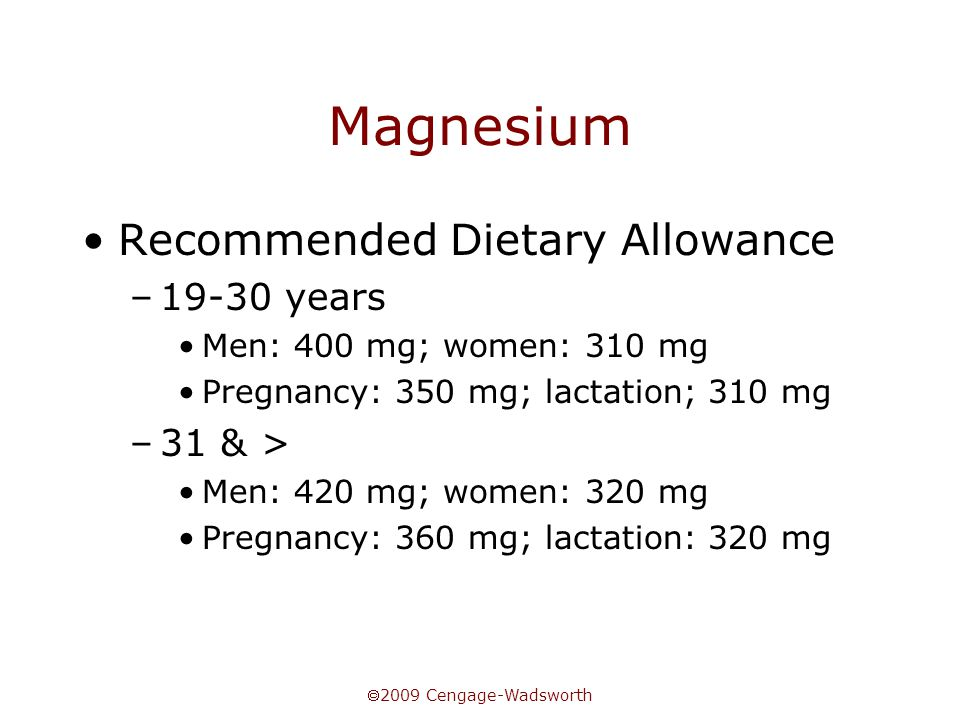 Magnesium Recommended Dietary Allowance 19-30 years 31 & >