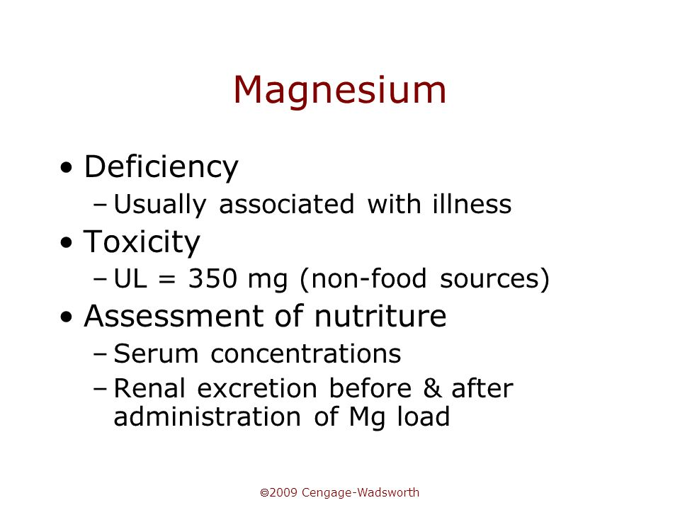 Magnesium Deficiency Toxicity Assessment of nutriture