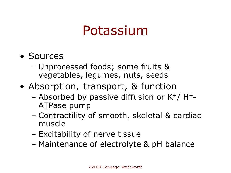 Potassium Sources Absorption, transport, & function