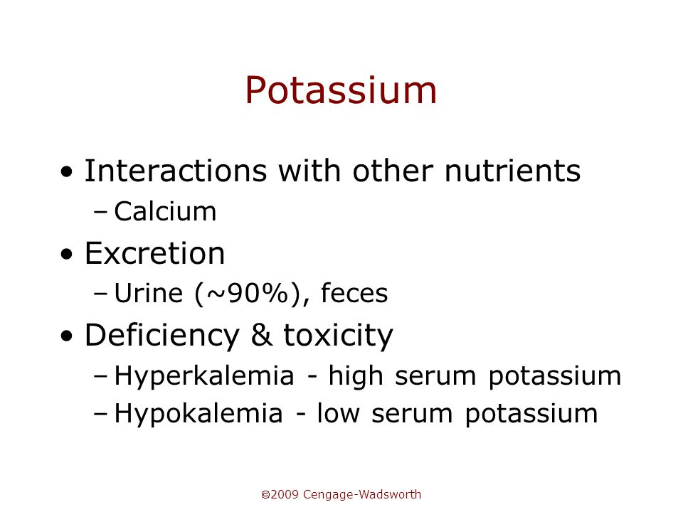 Potassium Interactions with other nutrients Excretion