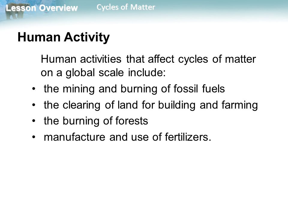 Human Activity the mining and burning of fossil fuels
