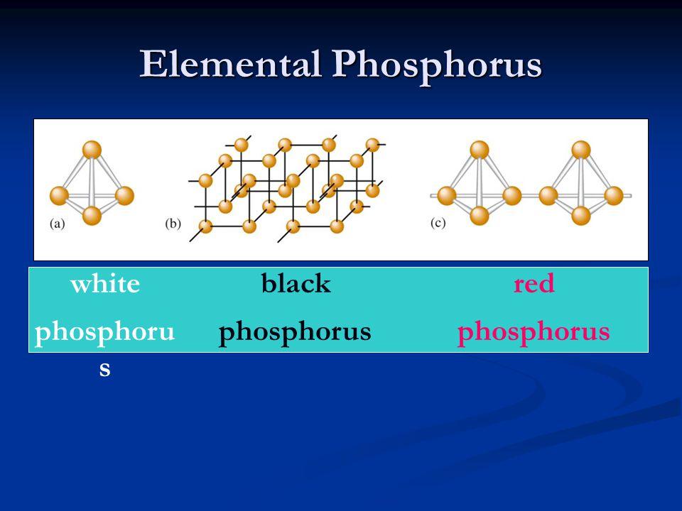 Elemental Phosphorus white phosphorus black phosphorus red phosphorus