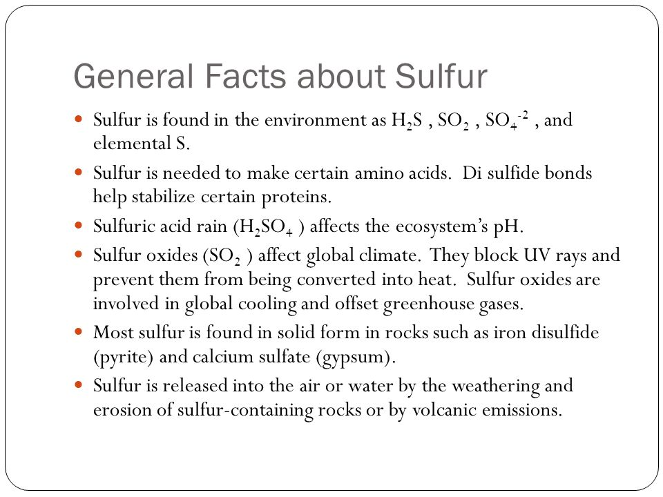 General Facts about Sulfur