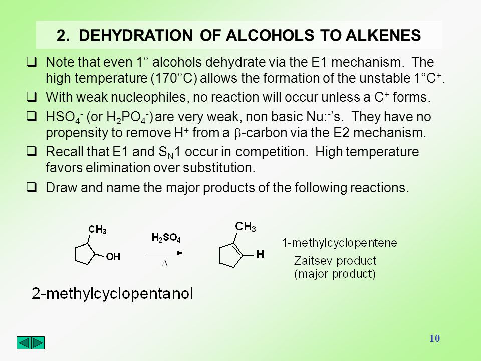 2. DEHYDRATION OF ALCOHOLS TO ALKENES