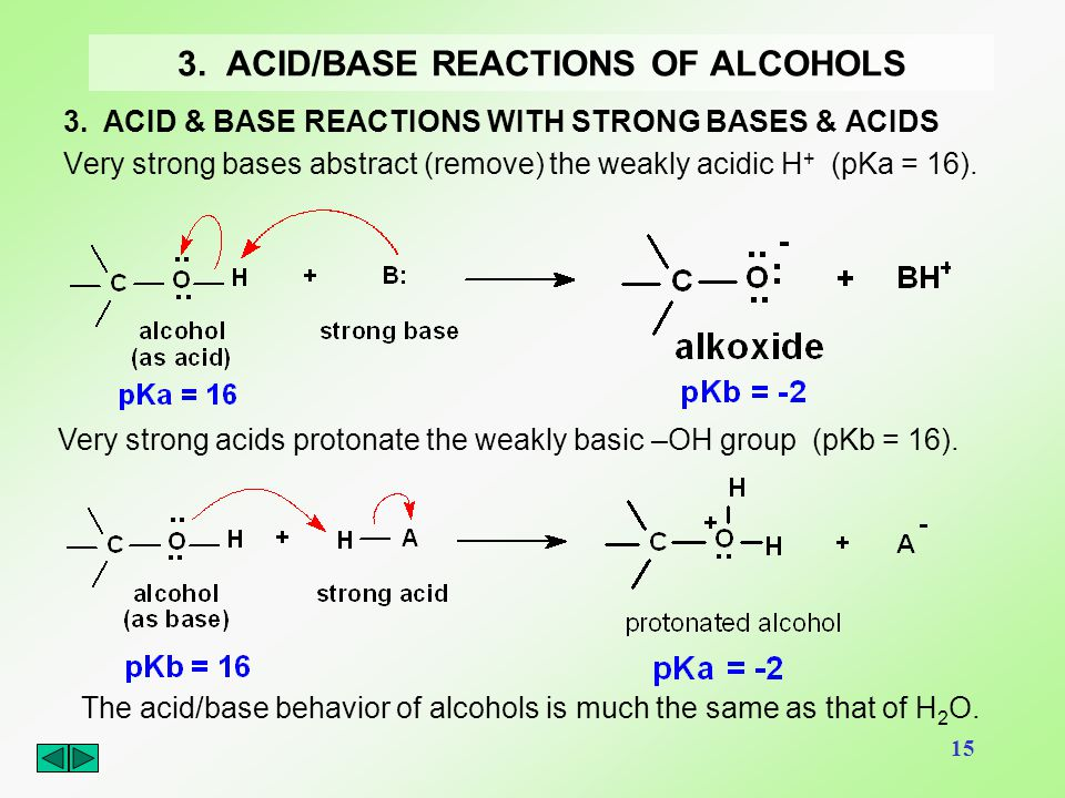3. ACID/BASE REACTIONS OF ALCOHOLS
