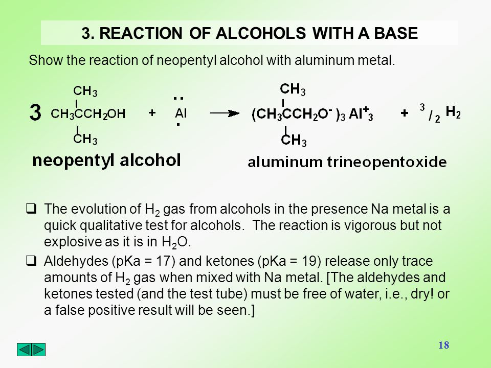 3. REACTION OF ALCOHOLS WITH A BASE