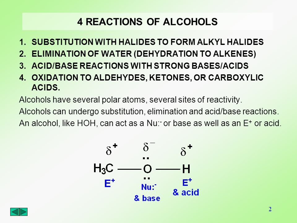 4 REACTIONS OF ALCOHOLS SUBSTITUTION WITH HALIDES TO FORM ALKYL HALIDES. ELIMINATION OF WATER (DEHYDRATION TO ALKENES)